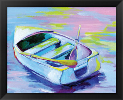 Metaverse Art Sunset Boat II Framed Wall Art