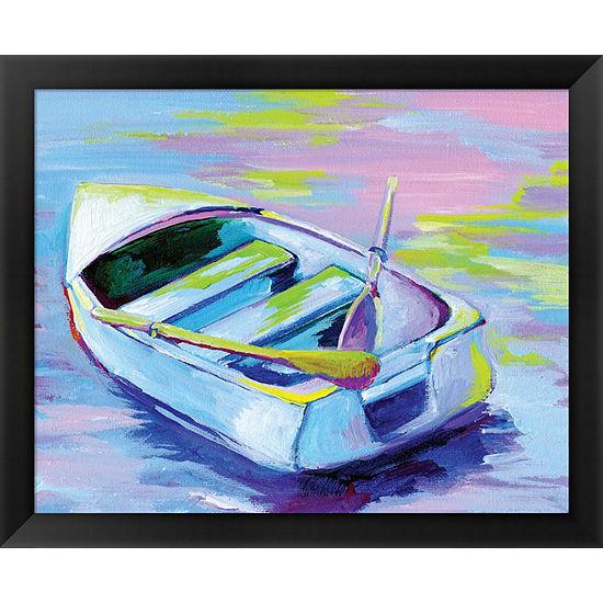 Metaverse Art Sunset Boat II Framed Wall Art