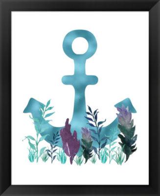 Metaverse Art Teal Florals Blue Anchor Framed WallArt