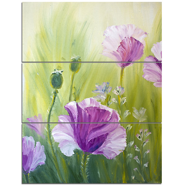 Designart Purple Poppies In Morning Floral Art Canvas Print - 3 Panels