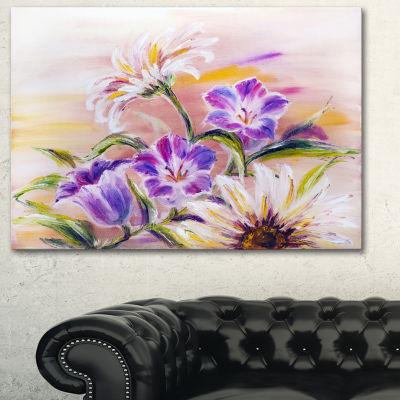 Designart Purple Wildflowers Floral Art Canvas Print - 3 Panels