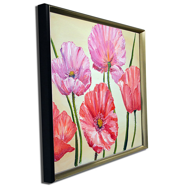 Designart Red And Pink Poppies Floral Art Canvas Print