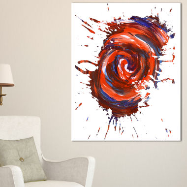 Designart Red Multicolor Stain Abstract WatercolorCanvas Art Print