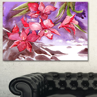 Designart Red Orchid With Sea Floral Art Canvas Print