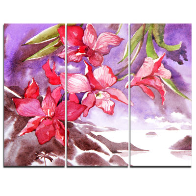 Designart Red Orchid With Sea Floral Art Canvas Print - 3 Panels