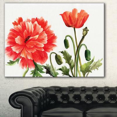 Designart Red Poppies Abstract Watercolor Canvas Art Print - 3 Panels