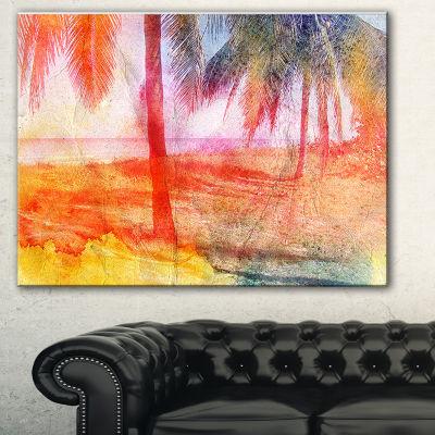 Designart Red Retro Palm Trees Landscape PaintingCanvas Print