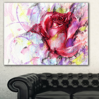 Designart Red Rose Illustration Floral Art CanvasPrint - 3 Panels