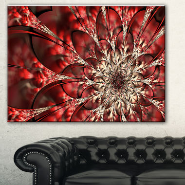 Designart Red Symmetrical Flowers Pattern Floral Art Canvas Print