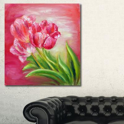 Designart Red Tulips In Red Background Floral ArtCanvas Print