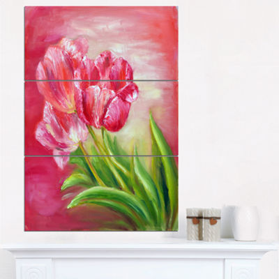 Designart Red Tulips In Red Background Floral ArtCanvas Print - 3 Panels