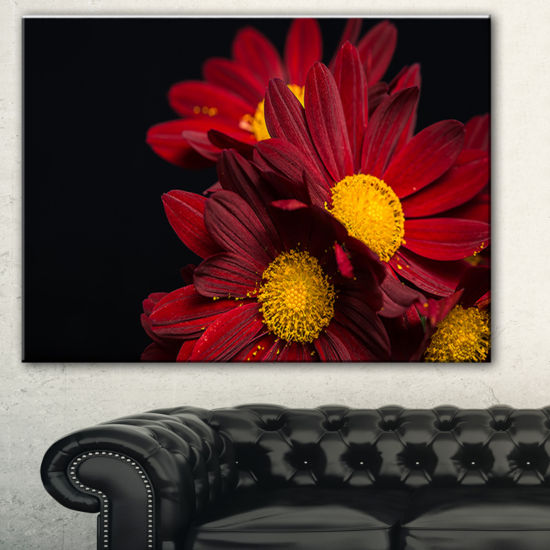 Designart Red Velvet Chrysanthemum Flowers FloralArt Canvas Print