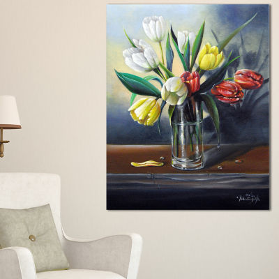 Designart Red White Yellow Tulips Floral PaintingCanvas