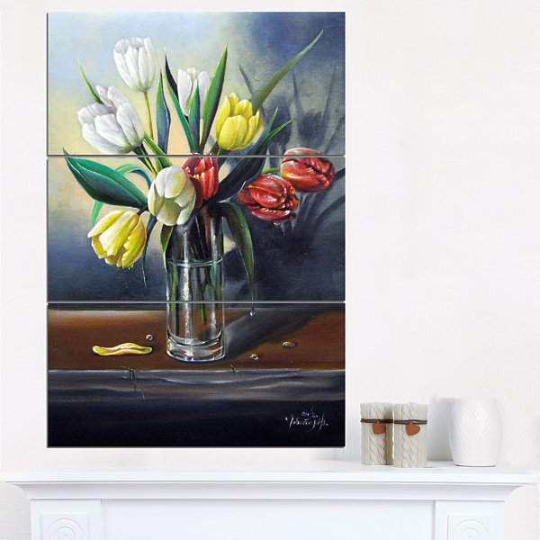 Designart Red White Yellow Tulips Floral PaintingCanvas - 3 Panels