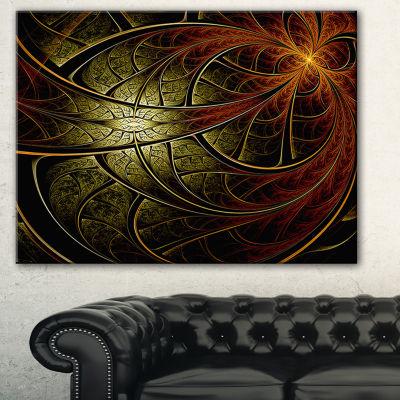 Designart Red Yellow Metallic Fabric Flower Abstract Print On Canvas - 3 Panels
