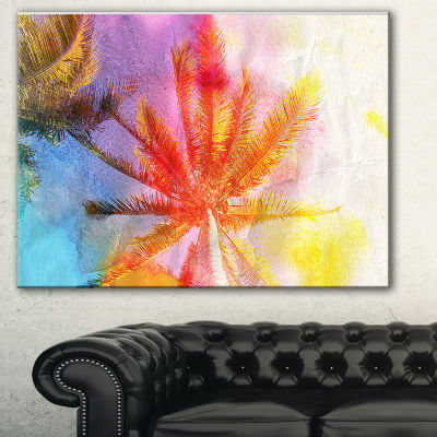 Designart Reflective Retro Palm Trees Landscape Painting Canvas Print