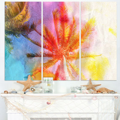 Designart Reflective Retro Palm Trees Landscape Painting Canvas Print - 3 Panels