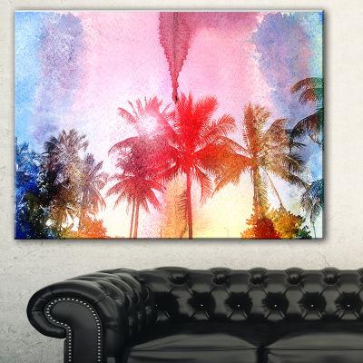 Designart Retro Palm Trees Long View Landscape Painting Canvas Print