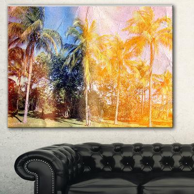 Designart Retro Palms In Yellow Shade Landscape Painting Canvas Print