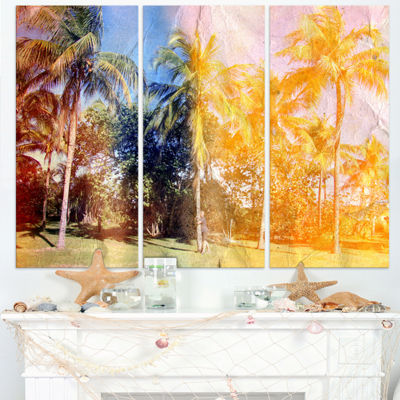 Designart Retro Palms In Yellow Shade Landscape Painting Canvas Print - 3 Panels