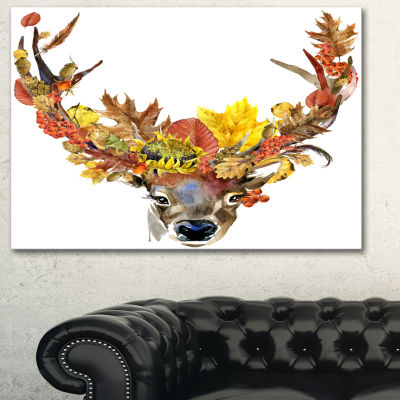 Designart Roe Deer With Flowers Floral Art CanvasPrint