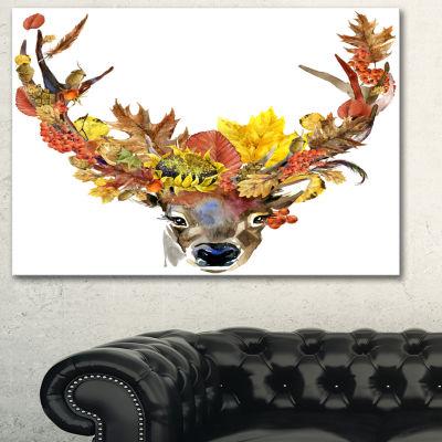 Designart Roe Deer With Flowers Floral Art CanvasPrint - 3 Panels