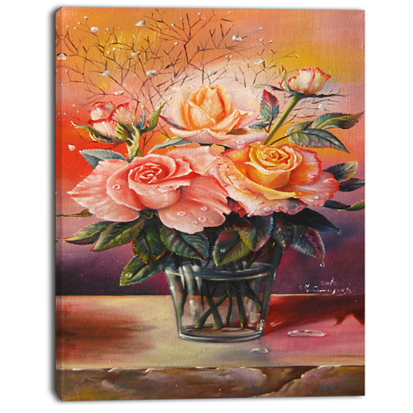 Designart Roses On Marble Table Floral Art CanvasPrint