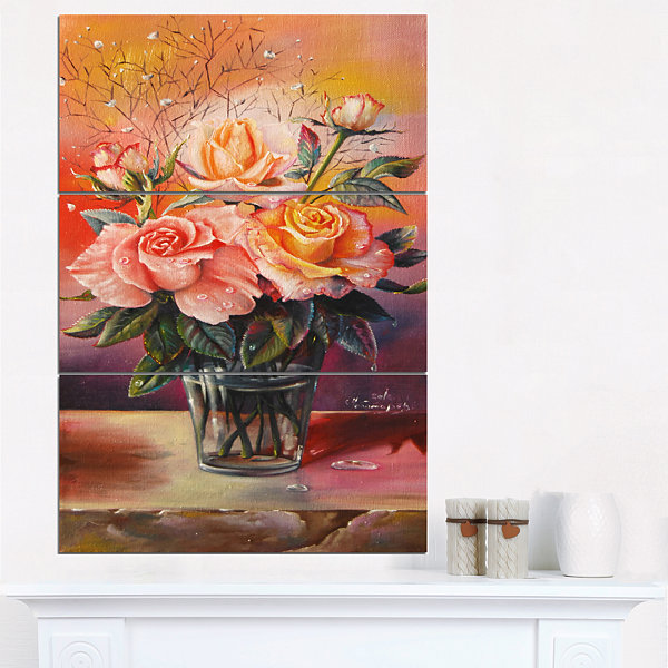 Designart Roses On Marble Table Floral Art CanvasPrint - 3 Panels
