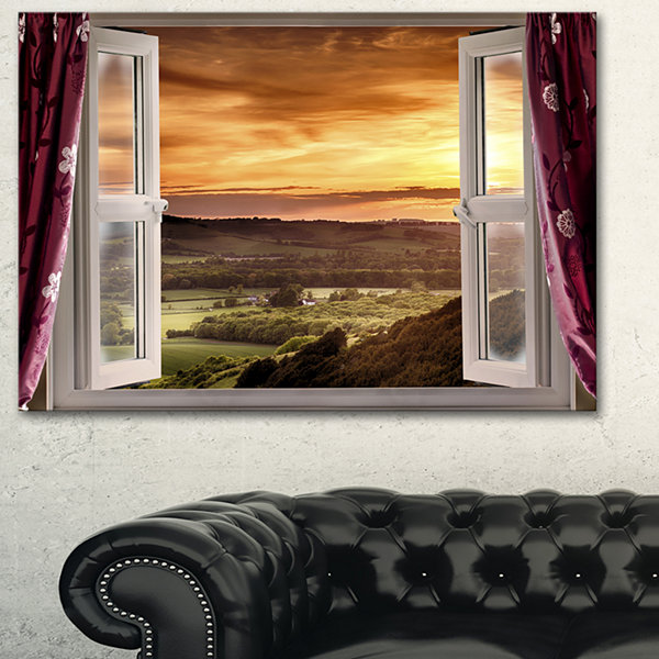 Designart Open Window To Rural Landscape Contemporary Canvas Art Print