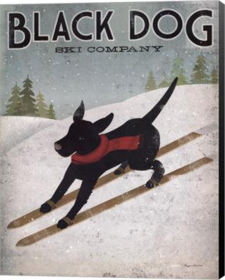 Metaverse Art Black Dog Ski Canvas Wall Art