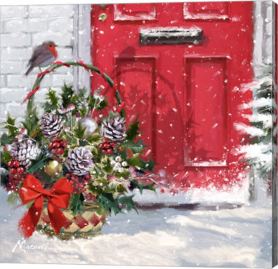 Metaverse Art Christmas Basket Canvas Wall Art
