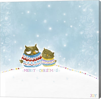 Metaverse Art Merry Christmas Owl Couple Canvas Wall Art