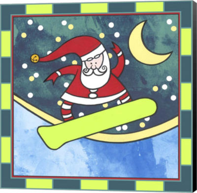 Metaverse Art Santa Claus Snowboarding 4 Canvas Wall Art