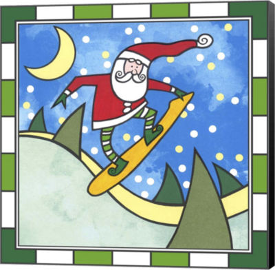 Metaverse Art Santa Snowboard 3 Canvas Wall Art
