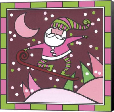 Metaverse Art Santa Snowboard 1 Canvas Wall Art