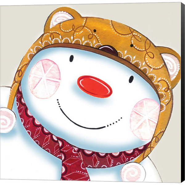 Metaverse Art Delightful Snowman Canvas Wall Art