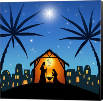 Metaverse Art In a Manger Canvas Wall Art