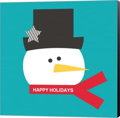 Metaverse Art Happy Holidays on Blue I Canvas WallArt