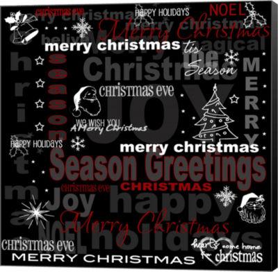 Metaverse Art Seasons Greetings Christmas Text Canvas Wall Art