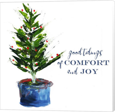 Metaverse Art Comfort Joy Little Christmas Tree Canvas Wall Art