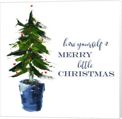 Metaverse Art Merry Little Christmas Tree Canvas Wall Art