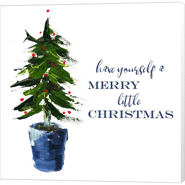 Metaverse Art Merry Little Christmas Tree Canvas Wall Art
