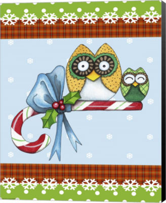 Metaverse Art Candy Cane Owls Flag Canvas Wall Art