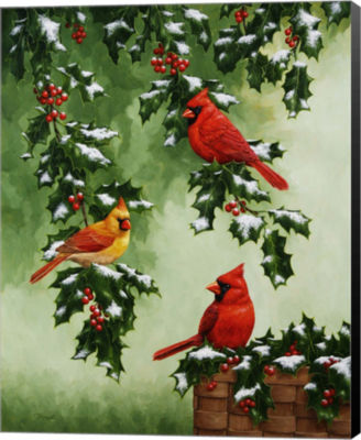 Metaverse Art Cardinals Hollies with Snow Canvas Wall Art