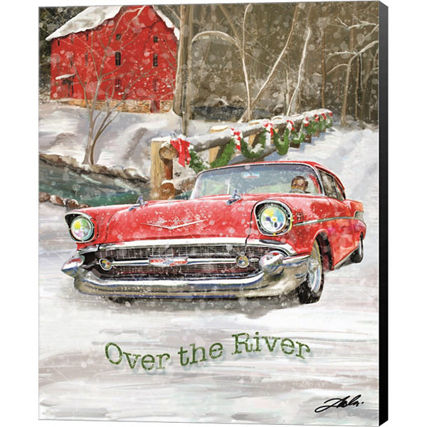 Metaverse Art Chevy Christmas Over the River Canvas Wall Art