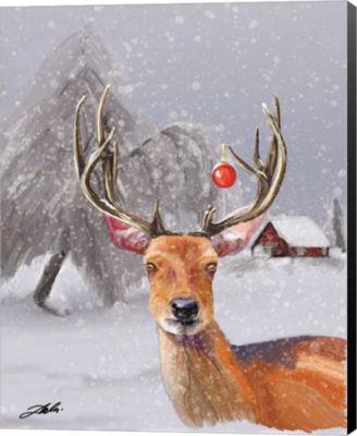 Metaverse Art Christmas Deer Canvas Wall Art