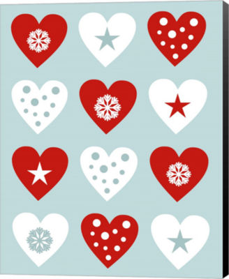 Metaverse Art Christmas Hearts Canvas Wall Art