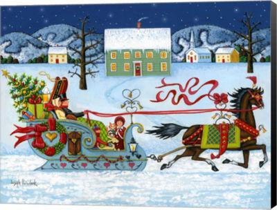 Metaverse Art Christmas Sleigh Canvas Wall Art