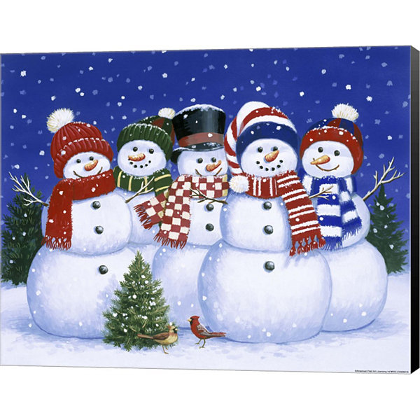 Metaverse Art Five Snowmen Canvas Wall Art