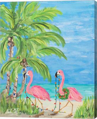 Metaverse Art Flamingo Christmas II Canvas Wall Art